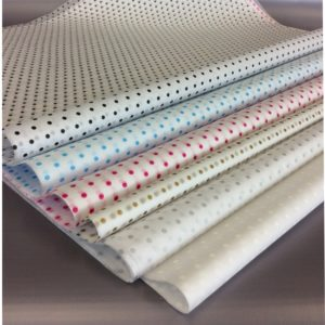 Spot Tissue Group Shot - Blue, Pink, Gold, Silver, Black and White dainty spots on White Tissue, products on grey background