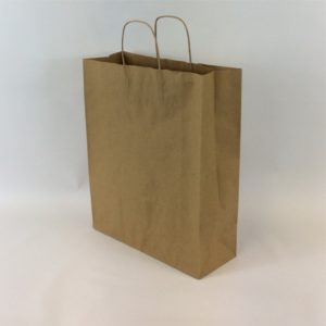 Brown 320+140x410mm Twisted String Handle Carrier Bag.