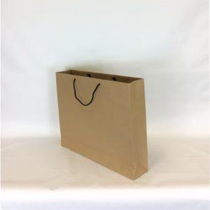 Brown 500+100x400+50mm Kraft Carrier Bag With Black Rope Handle