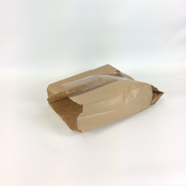 Brown Artisan Window 230x70x355mm Film Front Bag - Lay Flat & Open