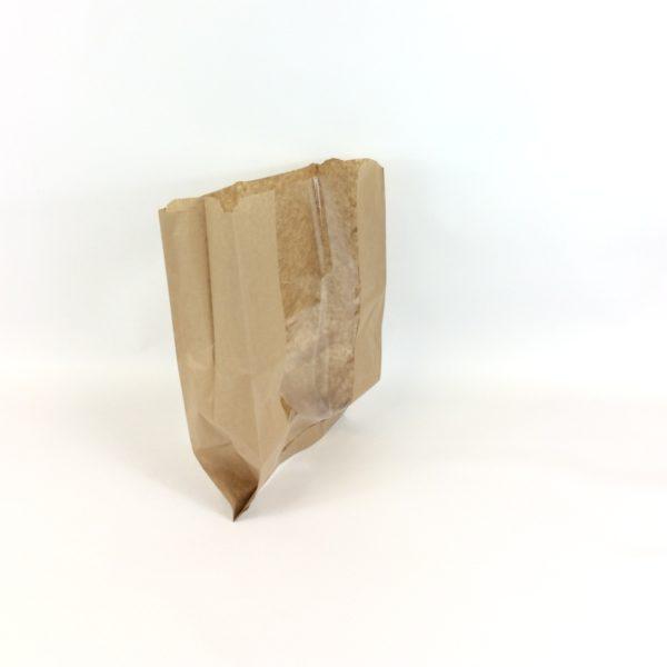 Brown Artisan Window 230x70x355mm Film Front Bag - Stood Upright & Open Lighter
