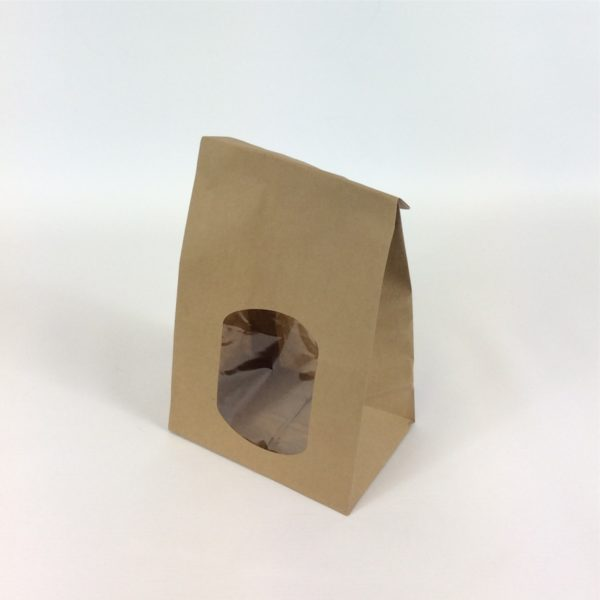 Brown Film Front SOS With Sandwich Window 150 x 100 x 250 mm Stood Upright With Closed Over Top