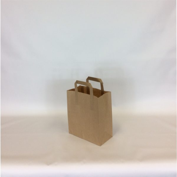 Brown Medium, 220x330x255mm, 8 Inch - Extranal Handle Paper Tape Carrier Bag