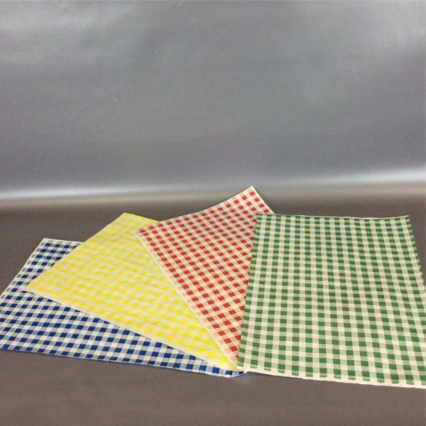 Group Shot Lay Flat - Blue, Yellow, Red, Green 250cm x 375cm (10inch x 12inch) checked duplex sheet