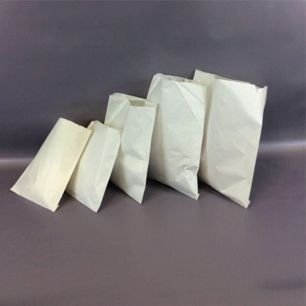 White 175x235mm, 215x215mm, 250x250mm, 250x300mm, 315x300mm Sulphate Flat Strung Paper Bag Group Shot