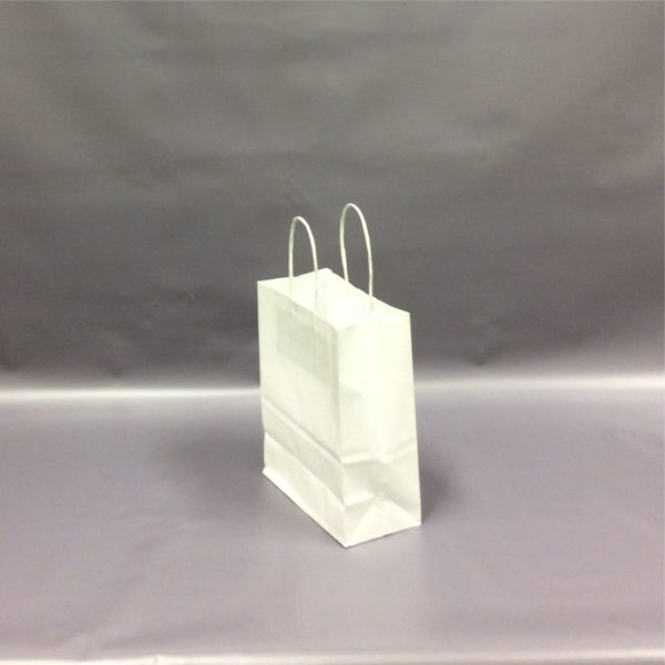White 180+90x220mm Twisted String Handle Carrier Bag