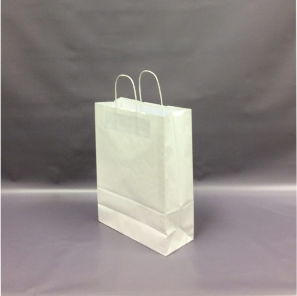 White 260+110x350mm Twisted String Handle Carrier Bag