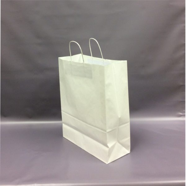 White 320+140x410mm Twisted String Handle Carrier Bag.