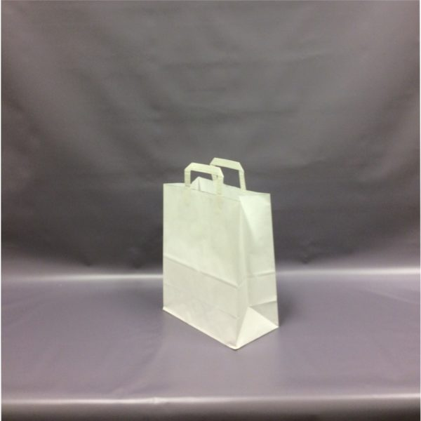 White Large, 250x390x305mm, 10 Inch - Extranal Handle Paper Tape Carrier Bag