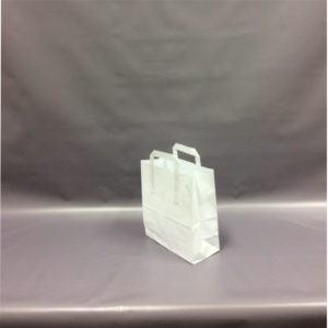 White Medium, 220x330x255mm, 8 Inch - Extranal Handle Paper Tape Carrier Bag
