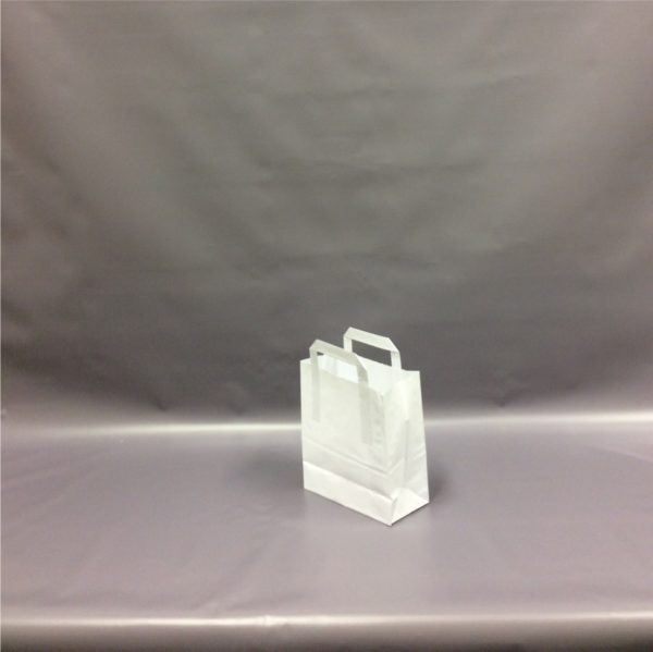 White Small, 175x270x215mm - 7 Inch - Extranal Handle Paper Tape Carrier Bag