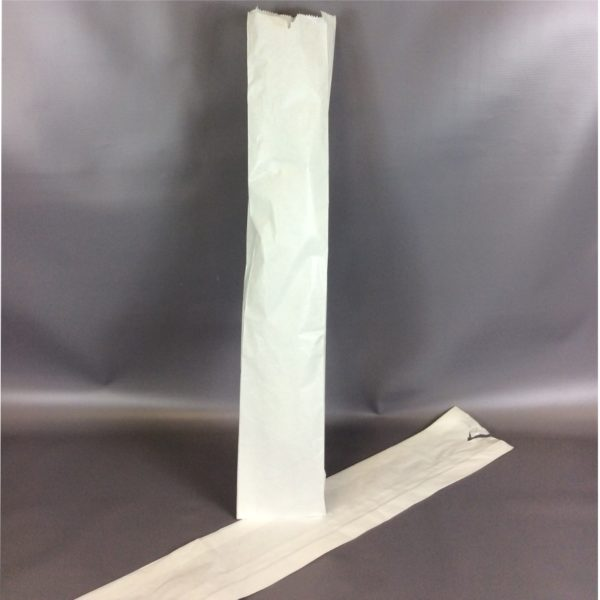 White Sulphite 100x150x600mm Baguette Bag - Lay Flat & Stood Up