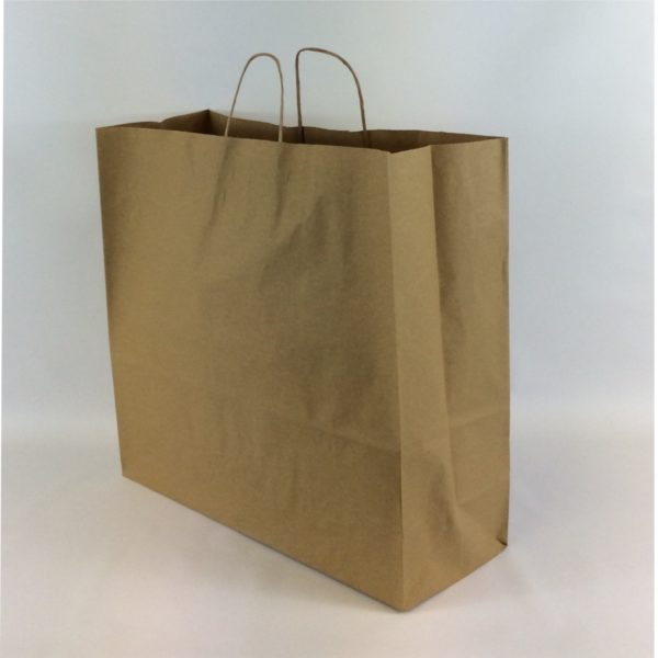 Brown 450+170x470mm Twisted String Handle Carrier Bag.