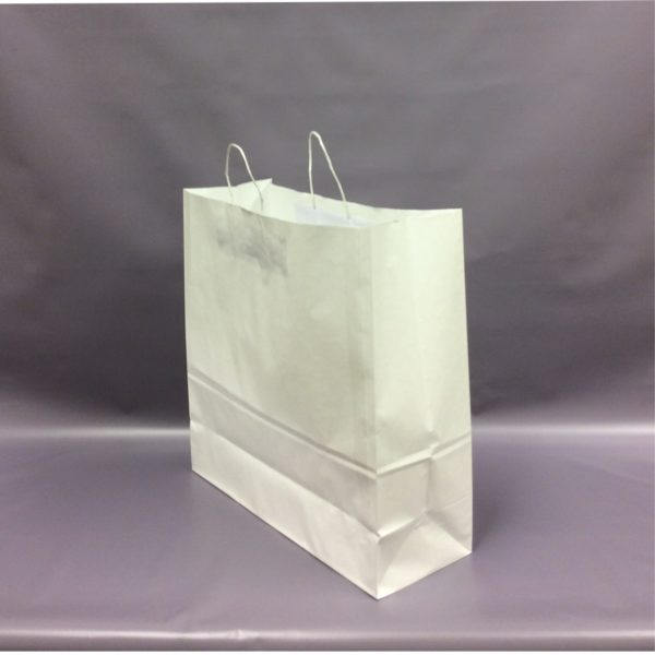 White 450+170x470mm Twisted String Handle Carrier Bag.