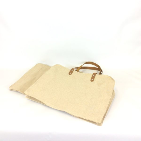 410+120x320mm Leather Handle Juco Carrier Bag