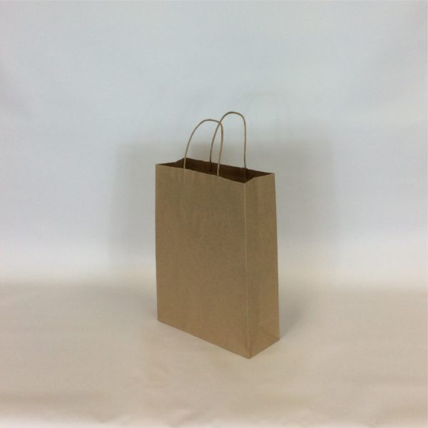 Brown 230+90x310mm Twisted String Handle Carrier Bag.