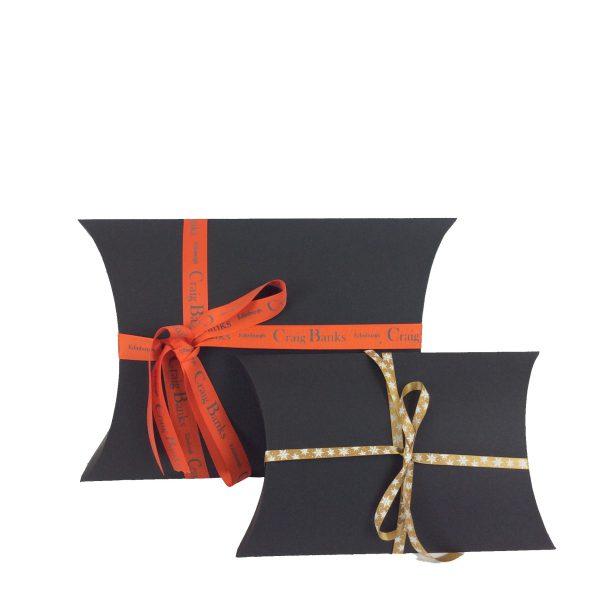 Black Pillow Boxes - ribbon